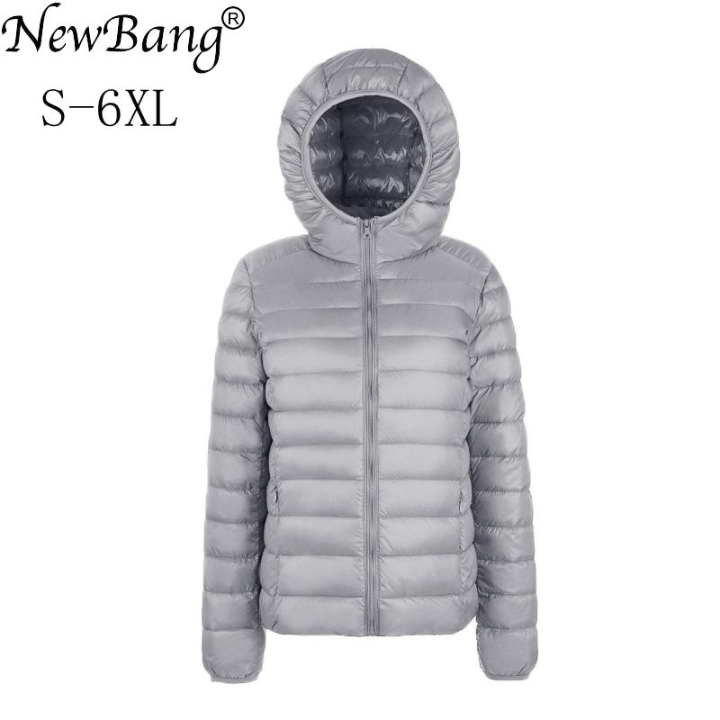 NewBang Brand Large Size 6XL Women's Down Coat Plus Ultra Light Down Jacket Women Lightweight Portable Windbreaker Parka