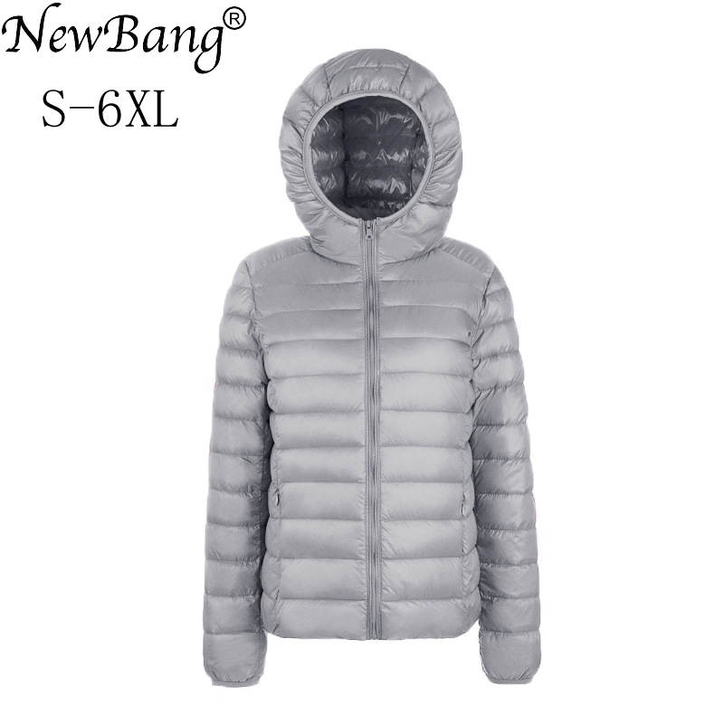 NewBang Brand Large Size 6XL Women's   Down     Coat   Plus Ultra Light   Down   Jacket Women Lightweight Portable Windbreaker Parka