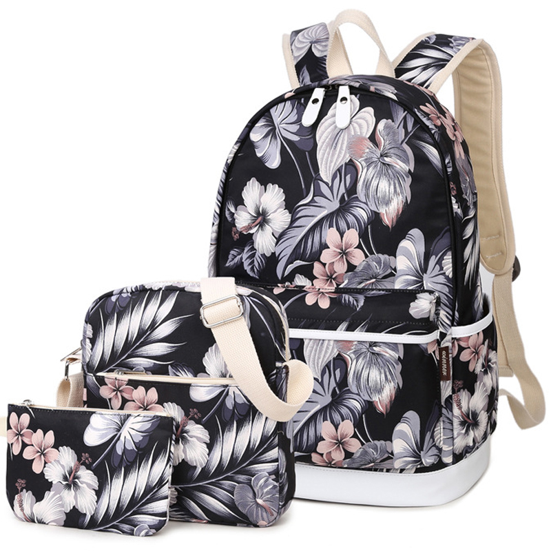 3pcs/set Women Flower Printing Backpack Canvas Designer Bagpack Schoolbag For Teenagers Girls Computer Knapsack