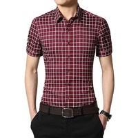 Plus Size 5XL 2016 New Summer Mens Cotton Dress Shirts Short Sleeve Plaid Pattern Business Formal