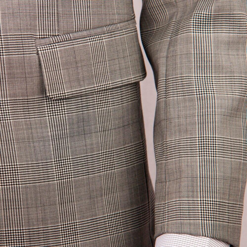 Серый костюм на заказ со штанами, в клетку серого цвета со стеклом, стильный мужской костюм, костюм в клетку из смесовой шерсти