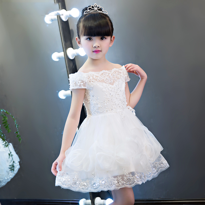 Shoulderless Appliques Tutu Flower Girl Dresses Wedding Ball Gown Floral White Cute Princess Dress Birthday Party Kids Clothes