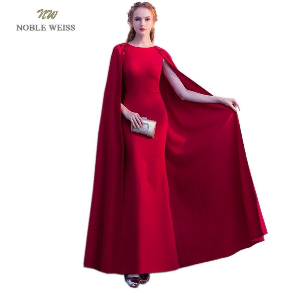 NOBLE WEISS rouge foncé robes De soirée Appliques perles Robe De soirée sirène étage longueur fête Robe De bal avec Wrap