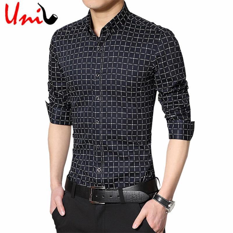 buy 2016 spring men plaid shirts long