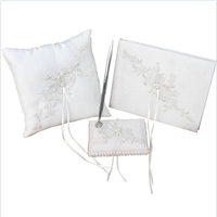 3pcs/set(Guest book+Pen Holder+Ring Pillow) Elegant White Lace Flowers Decor Wedding Celebration Supplies Sets