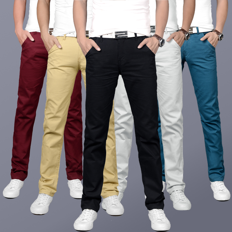 Spring Summer Fashion Men Jeans Korean Style Simple Casual Pants Solid Color Slim Fit Youth Basic Classical Leisure Pants Men