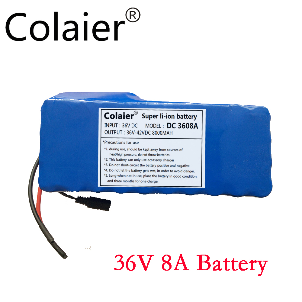 Colaier 36V 8AH bike electric car battery scooter high-capacity lithium battery +Do not include Charger new 3 7v12ah new high capacity lithium polymer battery 12000mah three yuan lithium electric car batteries