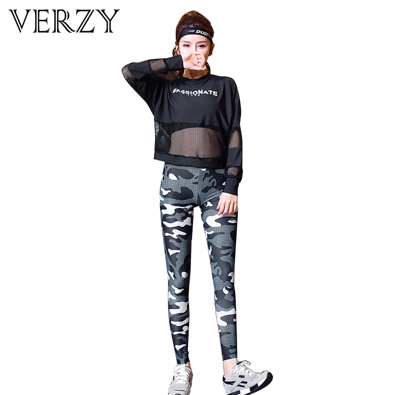 VERZY 2018 New Women 3 Pieces Sports Suit Fitness Yoga Set Female Mesh Patchwork Sportswear Tracksuit Gym Running Outdoor suits new winter yoga suit five piece female ms breathable coat of cultivate one s morality pants sports suits running fitness