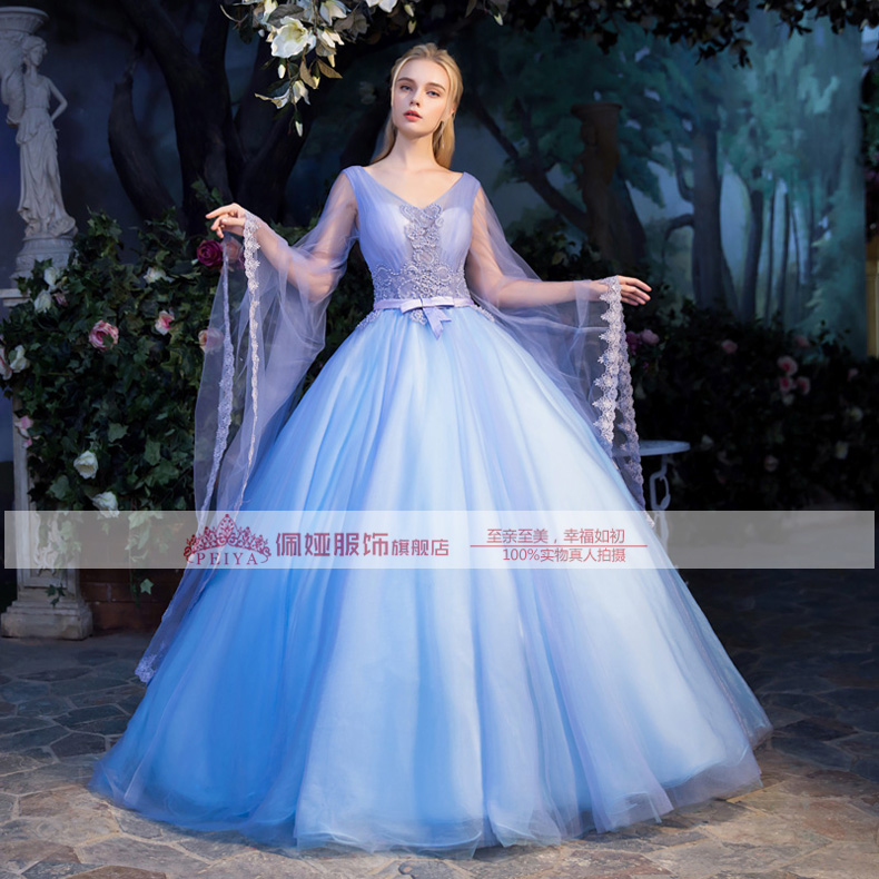 100%real luxury beading big flare sleeve fairy gown medieval dress ...