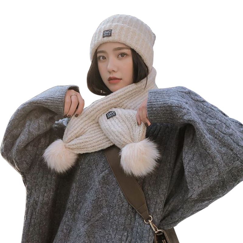 2-Piece Set Winter Warm Hat Scarf For Women Thick Long Scarves Pompoms Beanie Solid Color Korean Knit Ladies Shawl Outdoor Set