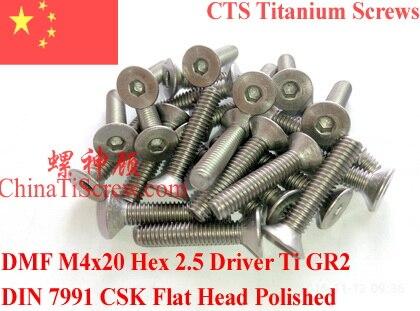Titanium Screw M4x20 DIN 7991 Hex 2.5 Driver Polished 10 Pcs