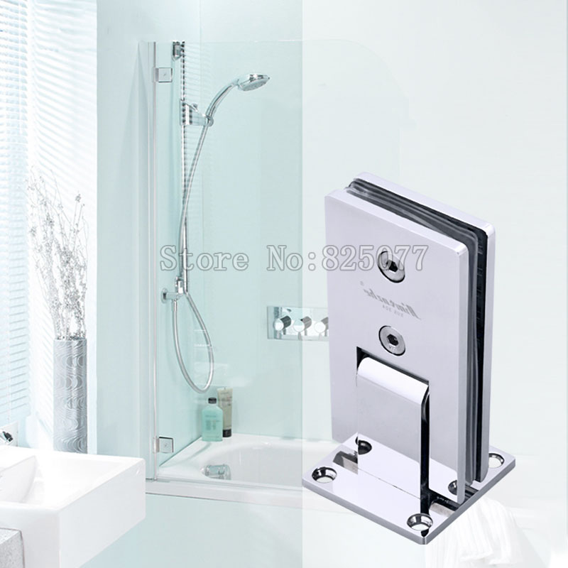 DHL 3PCS Shower room hinge rectangle 90 degree double stainless steel bathroom glass clamp