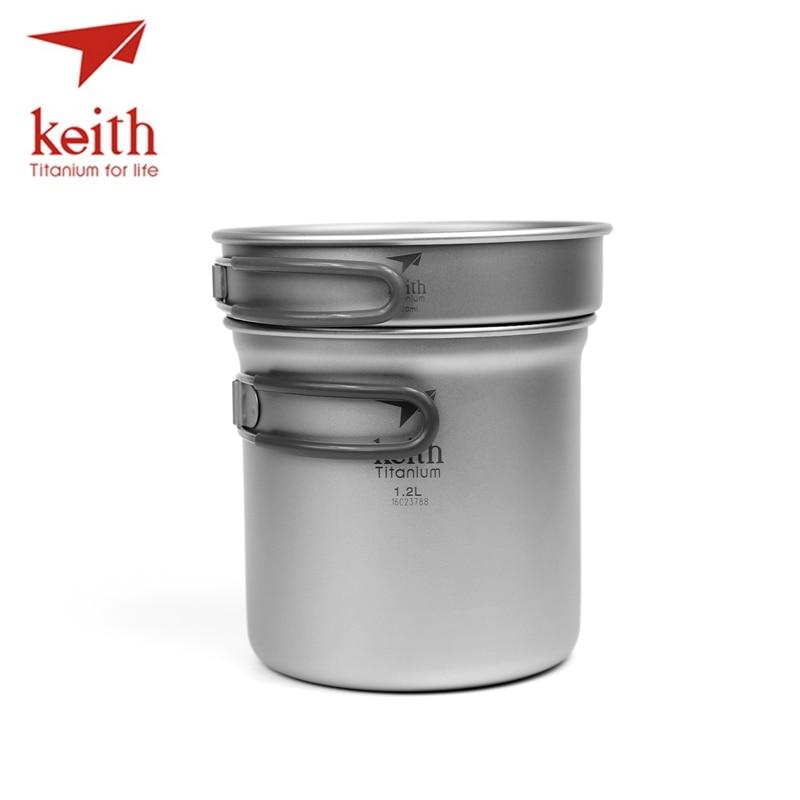 цена на Keith 2 In1 Titanium 400ml Pan 1.2L Cooking Pot Set Folding Handle Cook Set Ultralight Camping Picnic Cookware Utensil Ti6013