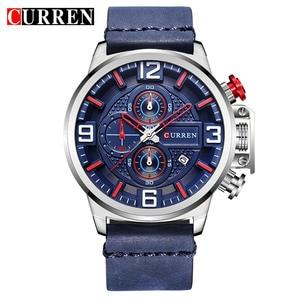 Image 5 - Neue herren Uhr CURREN Marke Luxus Mode Chronograph Quarz Sport Armbanduhr Hohe Qualität Lederband Datum Männlich Uhr