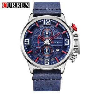 Image 5 - New Mens Watch CURREN Brand Luxury Fashion Chronograph Quartz Sports Wristwatch High Quality Leather Strap Date Male Clock