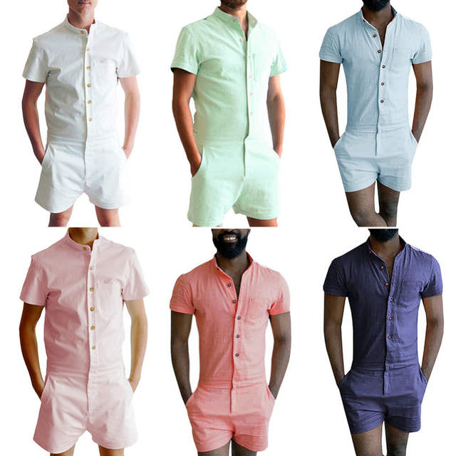 54446f4c5893 Mens Summer Fashion Short Sleeve Rompers Male Stretch Jumpsuit Single  Breasted Short Cargo Pants Tops Zipper
