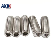 100Pcs DIN914 M3 M4 M5 304 Stainless Steel Grub Screws Cone Point Hexagon Hex Socket Set Screws AXK03