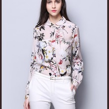 3927cf95c92322 2019 Spring Summer Original Design Gloria&Grace Pink 100% Silk Elegant  Flowers Floral Print Office Lady