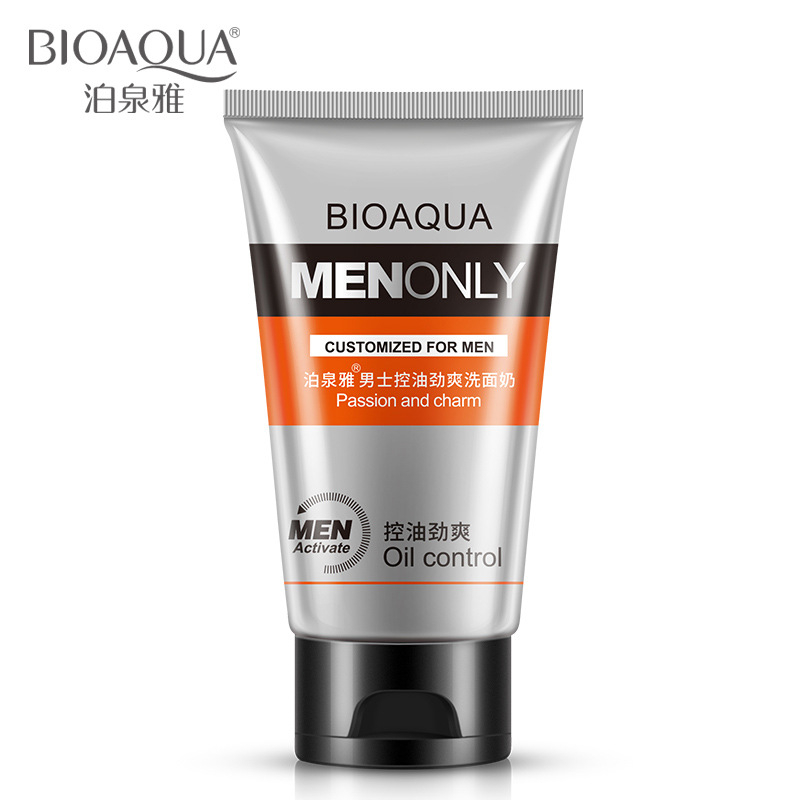 BIOAQUA Man oil-control face cleaner pore cleaner face wash men facial cleanser Acne blackhead Whitening Moisturizing Face Care image