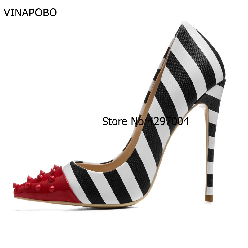 Vinapobo White <font><b>Shoes</b></font> Woman <font><b>High</b></font> <font><b>Heels</b></font> Black Summer <font><b>Pumps</b></font> Red Pointed Toe Slip-on <font><b>2018</b></font> <font><b>Top</b></font> <font><b>Quality</b></font> <font><b>Pumps</b></font> <font><b>Shoes</b></font> Plus Size 35-43 image