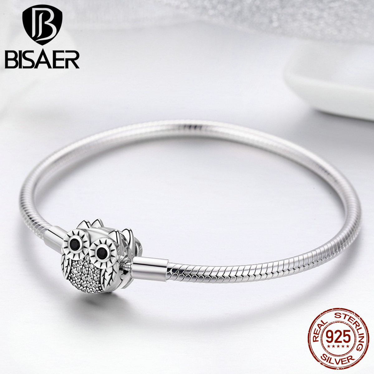 100% 925 Sterling Silver Animal Cute Owl Snake Chain Bracelets for Women Dazzling CZ Bracelets Bangles Authentic Silver Jewelry aiset genuine shanghai yatai yld 2000 temperature controller yld2602g 2