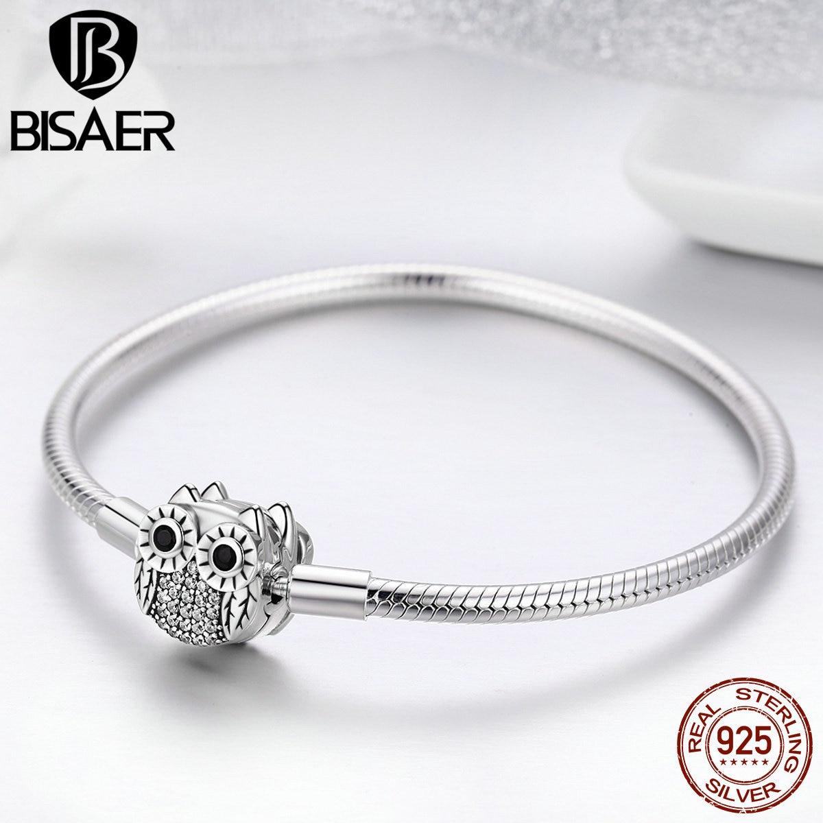 100% 925 Sterling Silver Animal Cute Owl Snake Chain Bracelets for Women Dazzling CZ Bracelets Bangles Authentic Silver Jewelry возлюби свои привычки