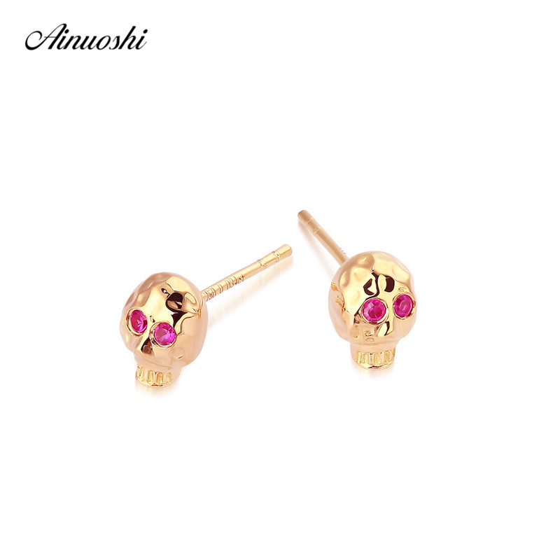 AINUOSHI Trendy 18K Gold Skull Skeleton Stud Earrings for Women Cute Mini Natural Ruby Eyes Earring Birthday Party Head Jewelry copper jewelry leopard head hanging pearl stud earrings tiger head green rhinestone black stud earrings for women