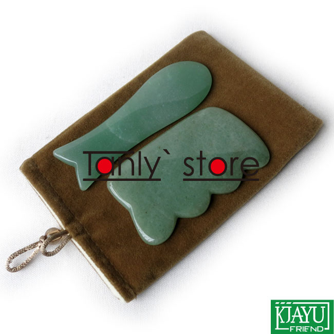 Traditional Acupuncture Massage Tool Guasha Beauty board Natural Stone 2pcs/set (fish+big square shape)