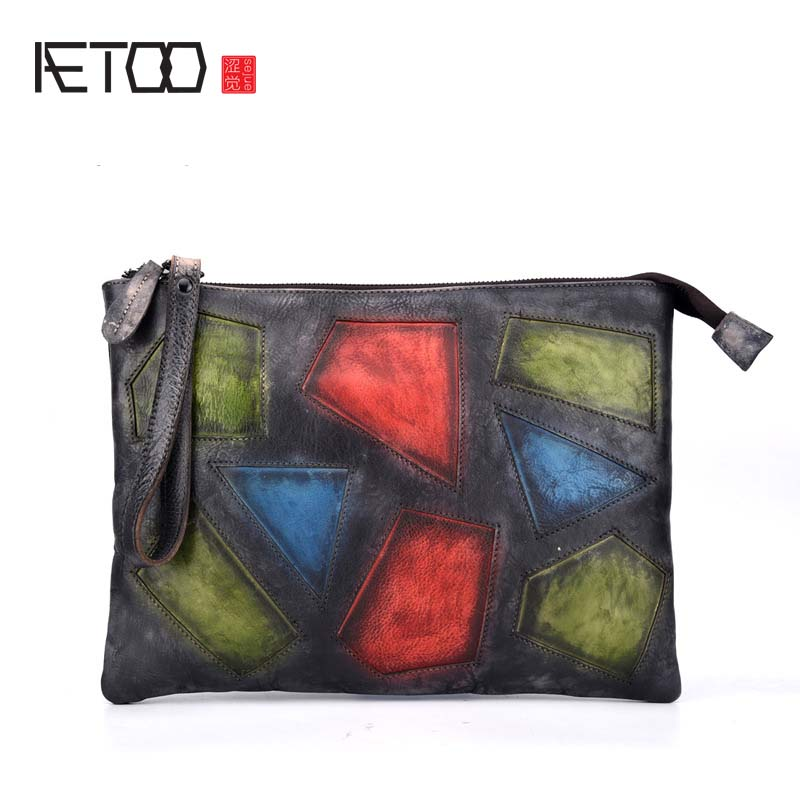 AETOO 2018 New retro wipe the first layer of leather ladies fashion Messenger bag handbag women vintage patchwork day clutches qiaobao 2018 new korean version of the first layer of women s leather packet messenger bag female shoulder diagonal cross bag