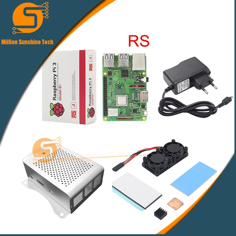 Raspberry Pi 3 Model B+(Plus)+ Dual Fan Cooling System Module with Heatsink+AL case for Pi 3B/3B+ abs case with cooling fan heatsink removable top cover