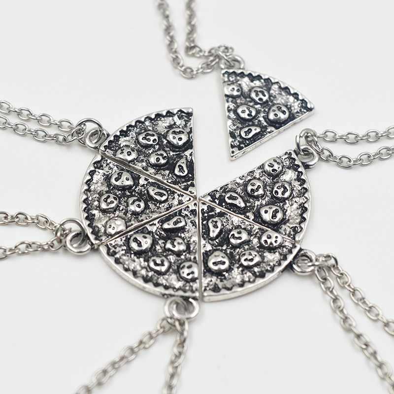 6 sztuk/zestaw Pizza wisiorek naszyjniki BFF Best Friends przyjaźń naszyjnik kreatywny srebrny złota dla mężczyzn prezenty urodzinowe dla kobiet biżuteria