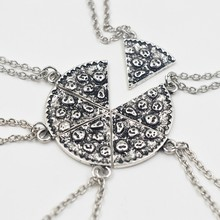 6pcs/Set Pizza Pendant Necklaces BFF Best Friends Friendship Necklace Creative Silver Gold For Men Women Birthday Gifts Jewelry