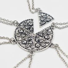6pcs/Set Pizza Pendant Necklaces BFF Best Friends Friendship Necklace Creative Silver Gold For Men Women Birthday Gifts Jewelry(China)