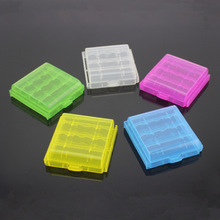 50pcs/lot Colorful Battery Holder Case Organizer 4 AA AAA Hard Plastic battery Storage Boxes case Protective Cover