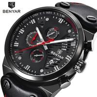 BENYAR 5110 Mens Watches Top Brand Luxury Waterproof 24 Hour Date Quartz Watch Man Leather Sport