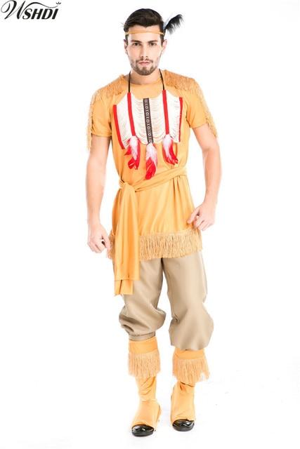 5pcs Man Native American Indian Wild West Suede Tassels Costume