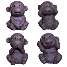 2016 New Chinese Purple Clay Tea Pet Zi Sha Cute Monkey Play Craft Kung Fu Toy 8.5