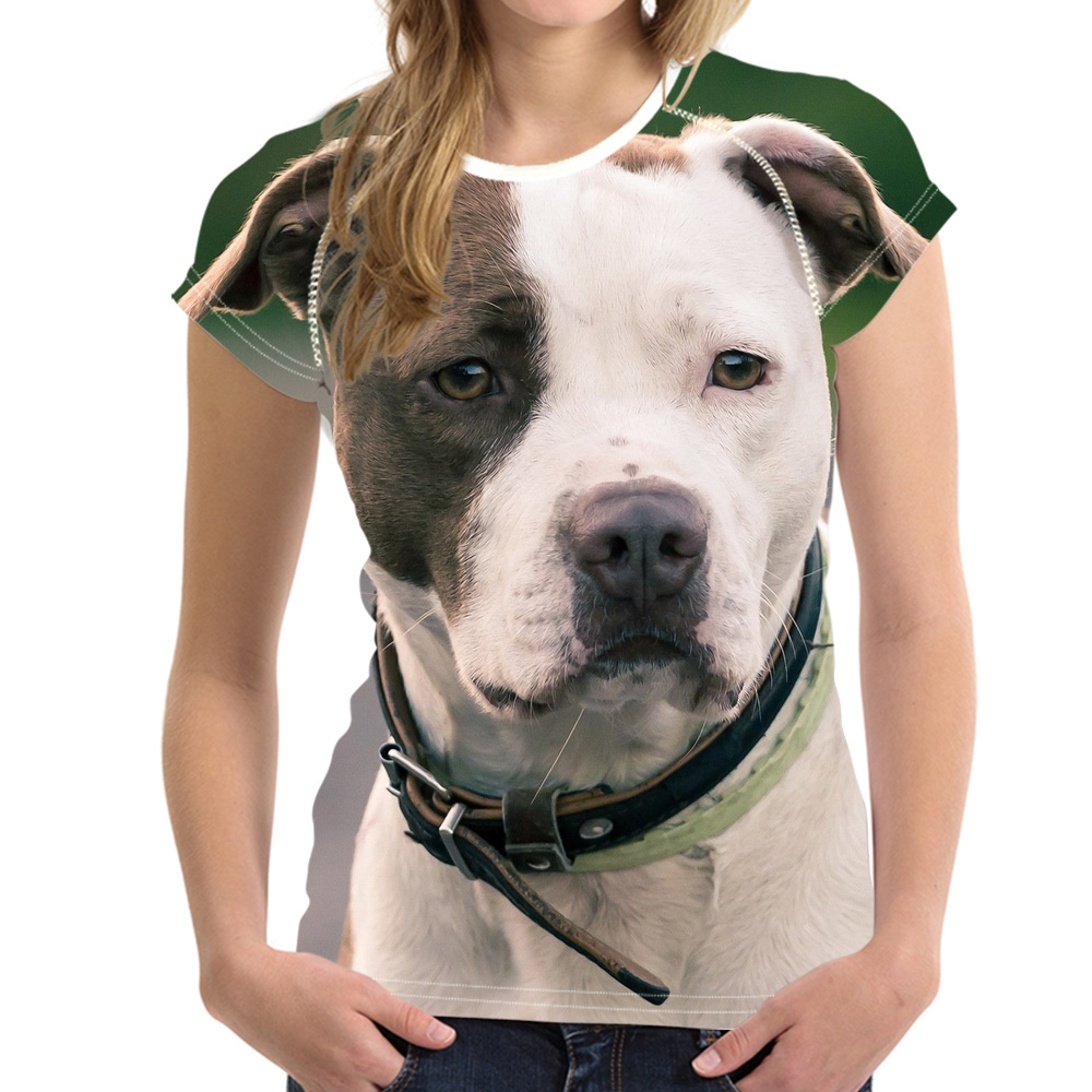 NoisyDesigns Для Женщин Животного футболка 3D собака тройники Американский питбультерьер о шеи упругой Базовая рубашка для леди женские футболки