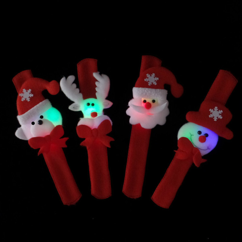 4PCS Santa Claus Light Slap Circle Bracelet Christmas Party Decoration Xmas Gift New Year Party KidsToys Decorations for Home