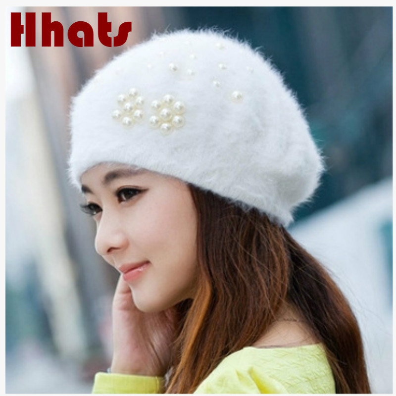 Fashion Pearl Winter Hat For Women Thickened Warm Rabbit Fur Skullies Beanie Solid Female Turban Hat Spring Autumn Stocking Cap