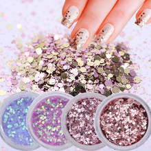10 Ml Gradien Flake Kuku Glitter Set Hexagon Holo Payet Bubuk 3D Manikur Kuku Seni Paillettes Chrome Dekorasi Tips(China)