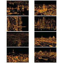 L29k креативная цветная открытка, скребки, ночные сцены, Когтеточка, классический мир, модный городской знак, поздравительные открытки, горячая распродажа