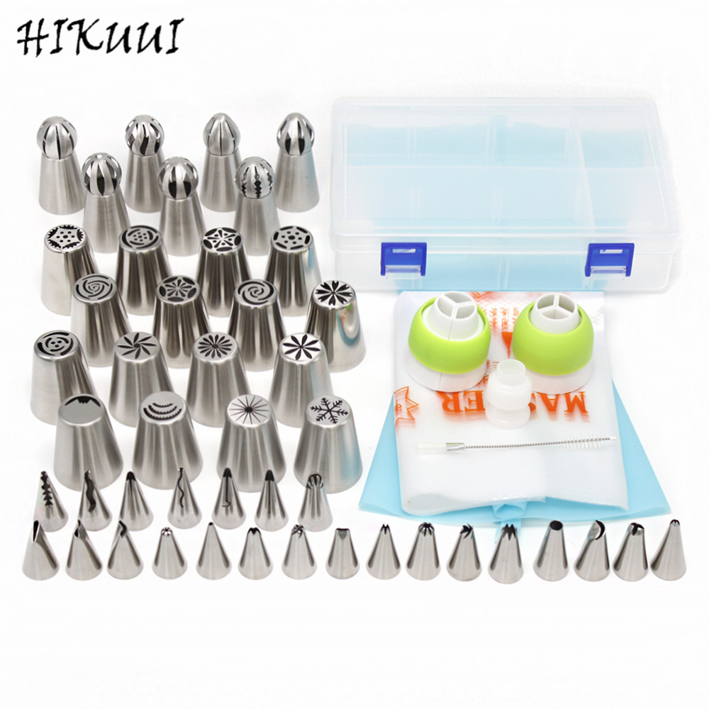 46pcs lot Stainless Steel Cake Nozzles Russian Nozzle Pastry korean Icing Piping Nozzles Tips Cake Decorating