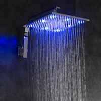 LED Head Shower 12 INCH 300*300 Self Powered Light with Rainfall Shower Arm