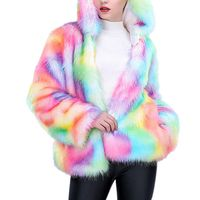 2017 Luxury Winter Womens Faux Fur Coat Fashion Rainbow Colors Female Long Sleeve Hooded Parka Coats