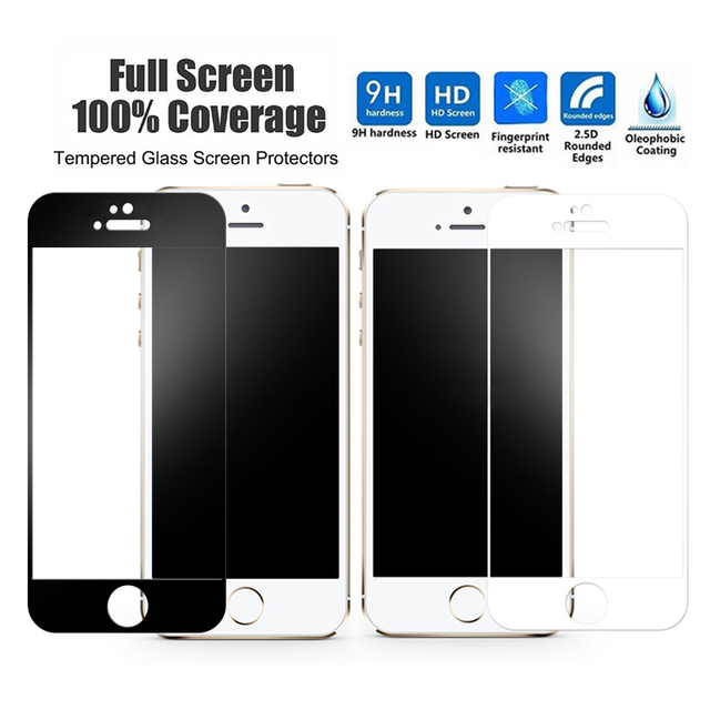 568a846787e tempered glass black white frame Full Scratch Proof Protective Film Case  for iPhone 5 5S 5C SE 6 6S 7 8 plus X XR XS Max glass
