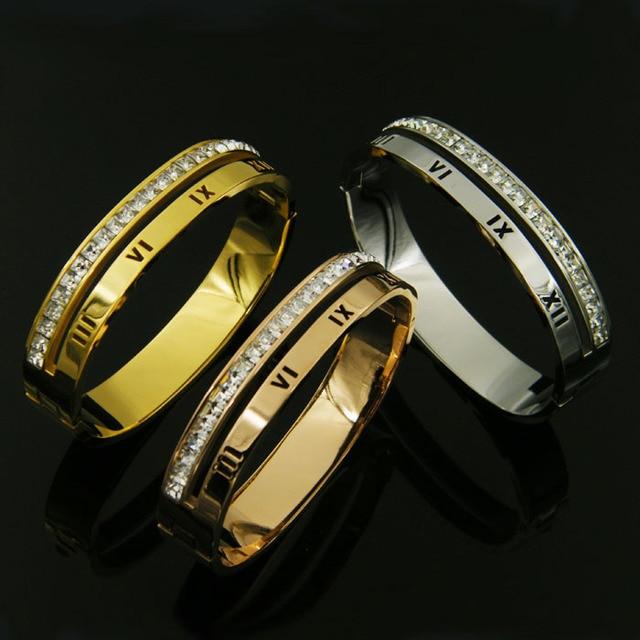 Fashion Luxury female bracelet Roman Numeral crystal bangle bracelet for women female jewelry gold piece