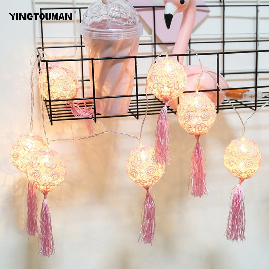YINGTOUMAN NEW Tassel Ball Small Lamp LED String Light Christmas Holiday Wedding Party Decoration Lighting 6m 40led