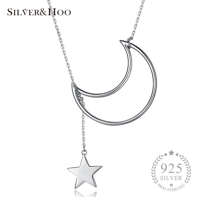 Silverhoo chic long moon star pendant necklace 925 sterling silver silverhoo chic long moon star pendant necklace 925 sterling silver sweater chains necklace brand jewelry for mozeypictures Gallery