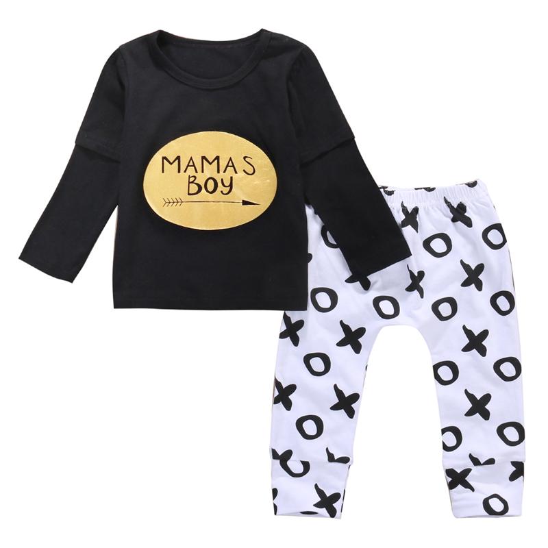 2pcs Newborn Baby Boys Clothes Set Gold Letter MAMAS BOY Outfit T-shirt Pants Kids Autumn Long Sleeve Tops Baby Boy Clothes Set 2